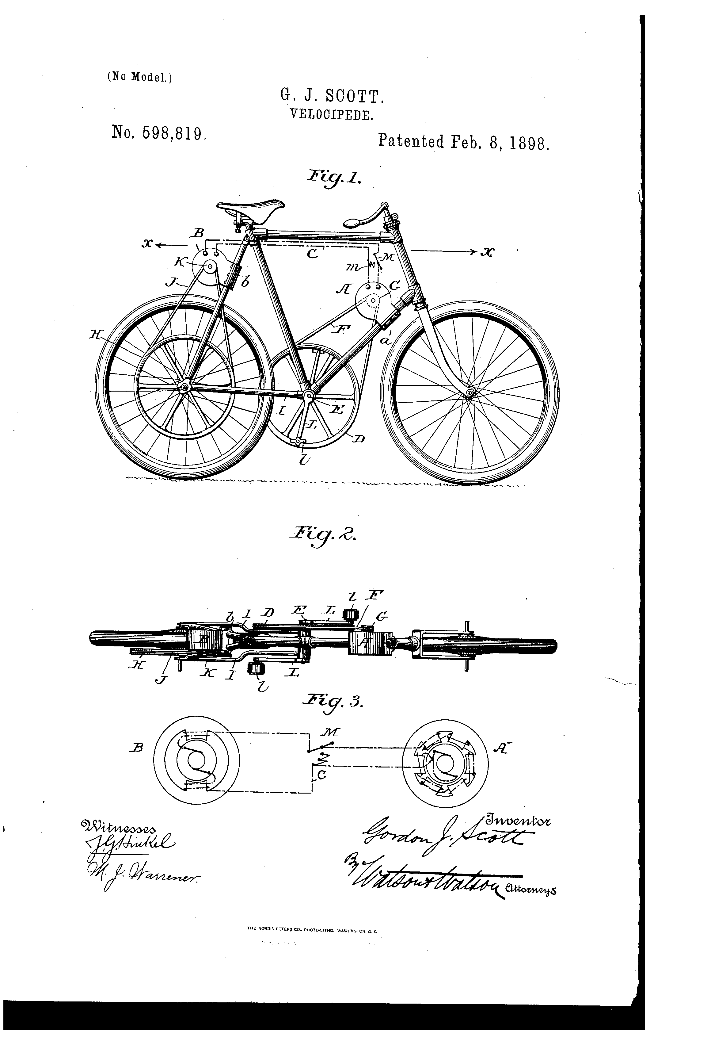 The Scott Velociped Patent US598819