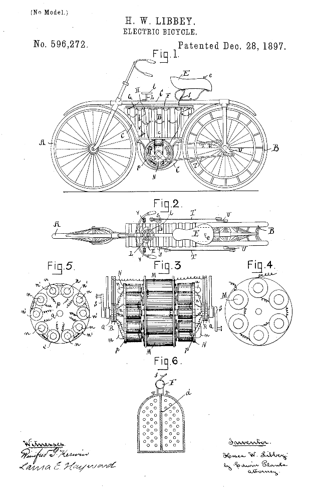 Electric bicycle US 596272 A