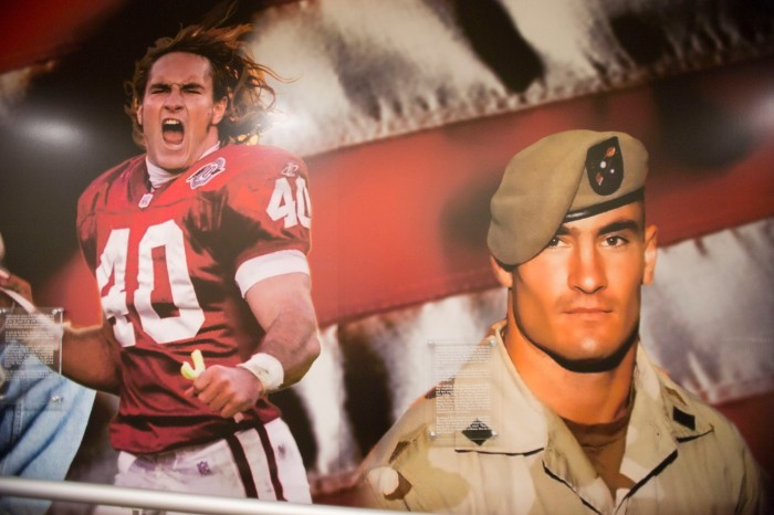 0312131116las PNI0322-tr asu-veterans 03/18/2013 Mural of Pat Tillman at Pat Tillman Veterans Center at Memorial Union Building at Tempe ASU Campus. Photo by Nick Oza